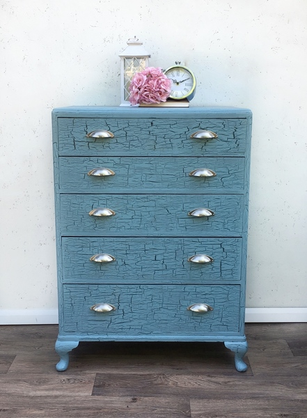 Hand Painted Crackle Effect Antique Chest Of Drawers