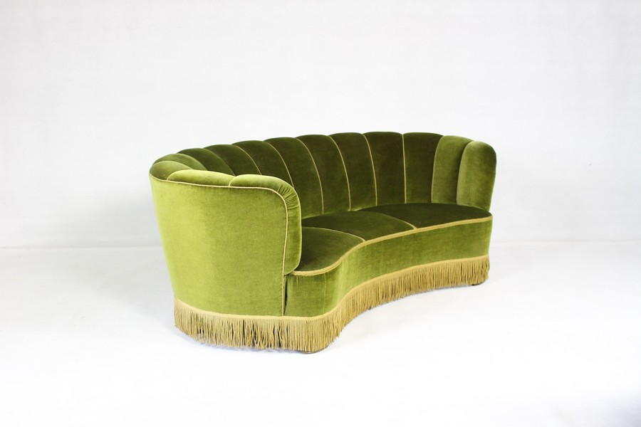 Danish Art Deco Banana Sofa From 1940s / Curved Vintage Danish Sofa