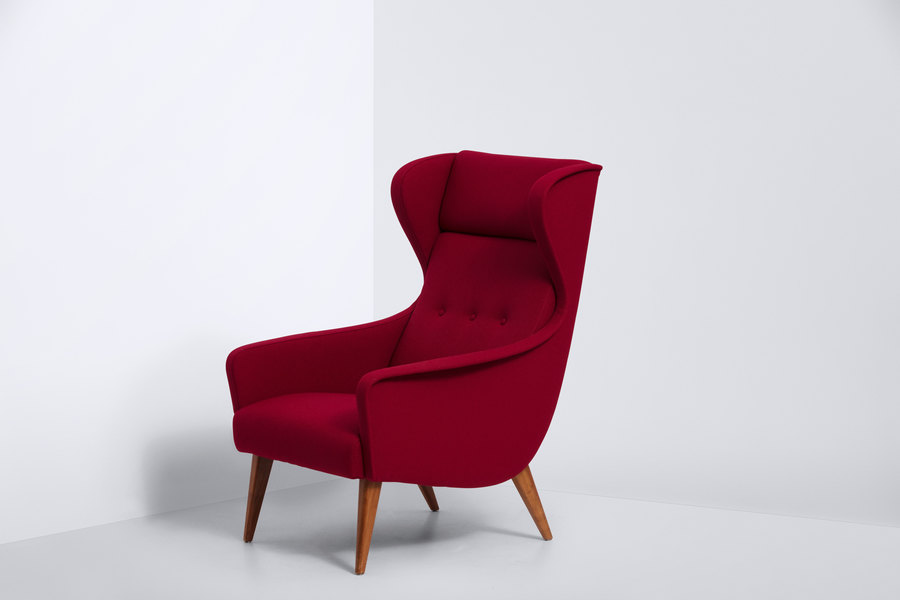 Danish Produced Wingback Chair From The 1950s. Newly Upholstered