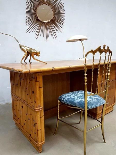 Vintage Bamboo Office Desk Bamboo Desk Tiki Style