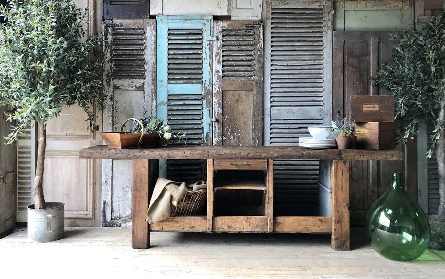 Vintage French Rustic Solid Wood Workbench / Counter / Kitchen Island / Butchers