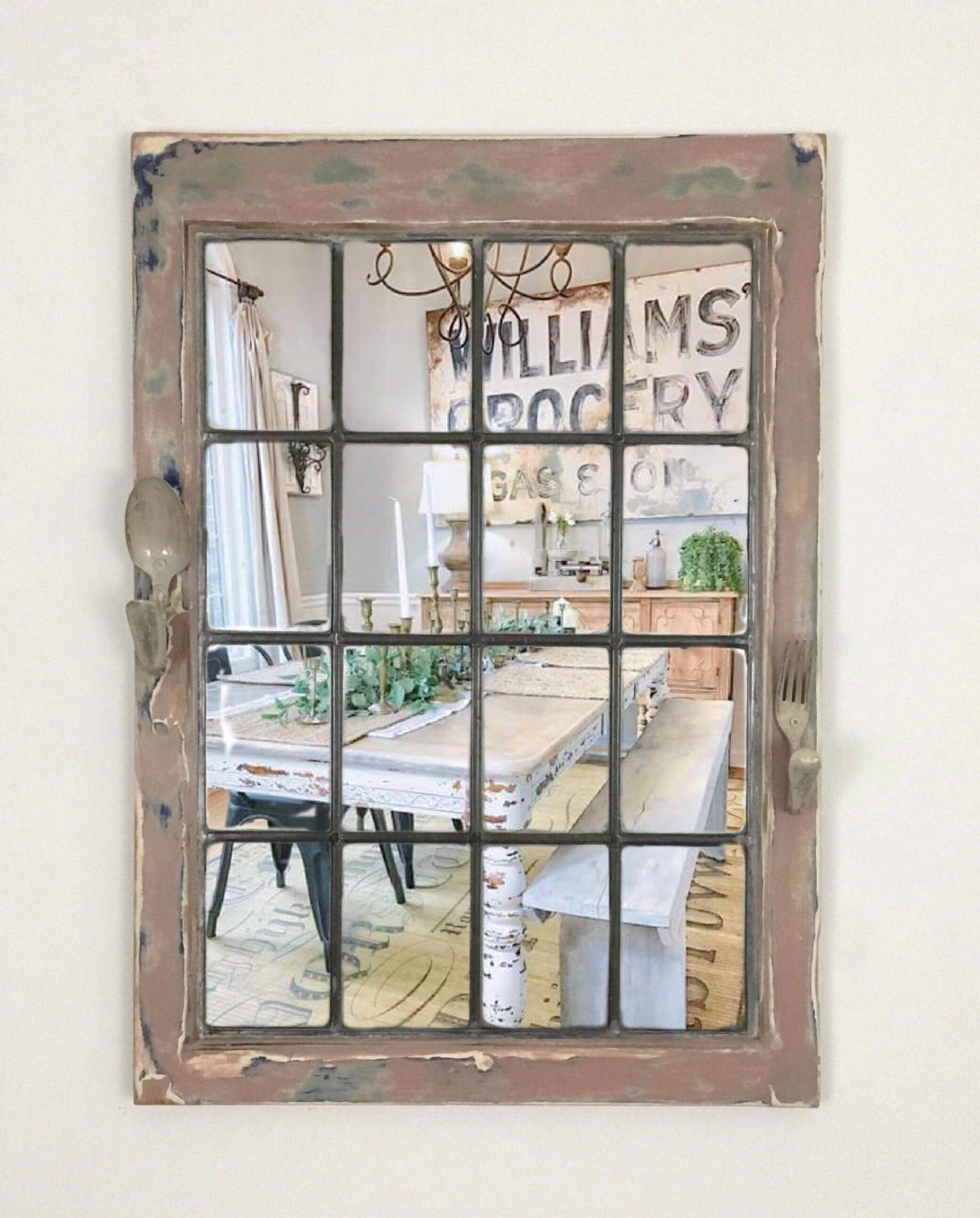 Industrial Wall Mounted Mirror. Reclaimed Window Mirror ...