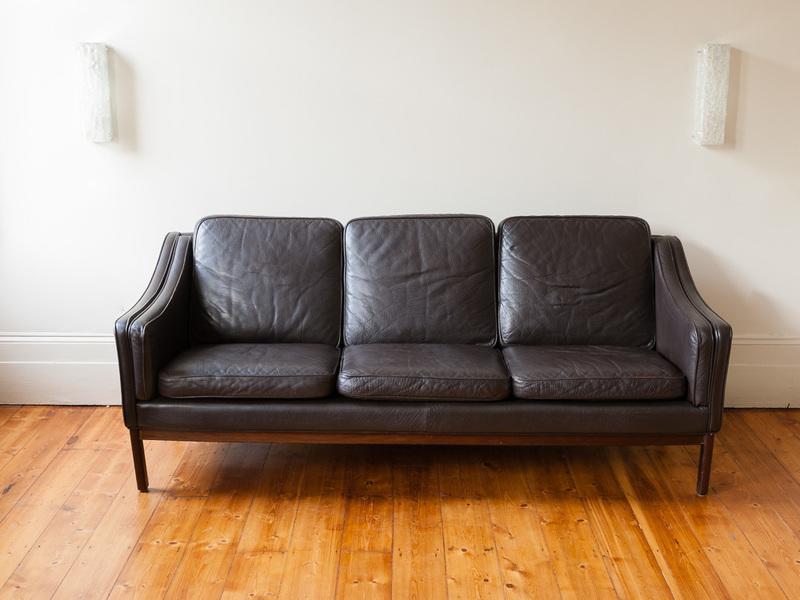 Danish Mid Century Modern Leather Three Seater Sofa