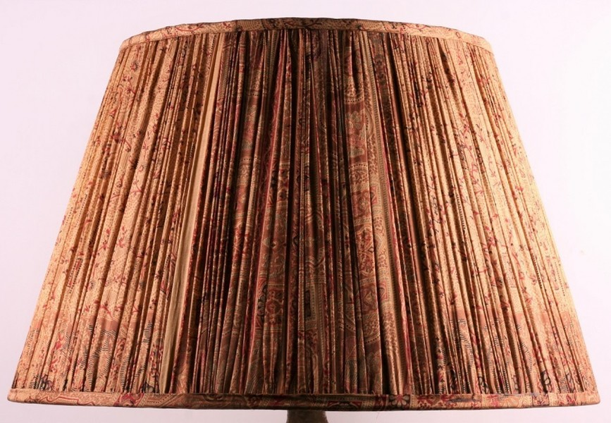 Pale Gold And Red Silk Lampshade