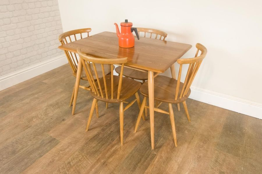 Vintage Retro Ercol Breakfast Table And 4 Chairs In Light Elm