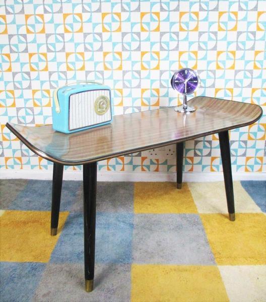 Vintage 70s Teak Veneer Sled Dansette Coffee Table Mid Century Retro Scandi Home