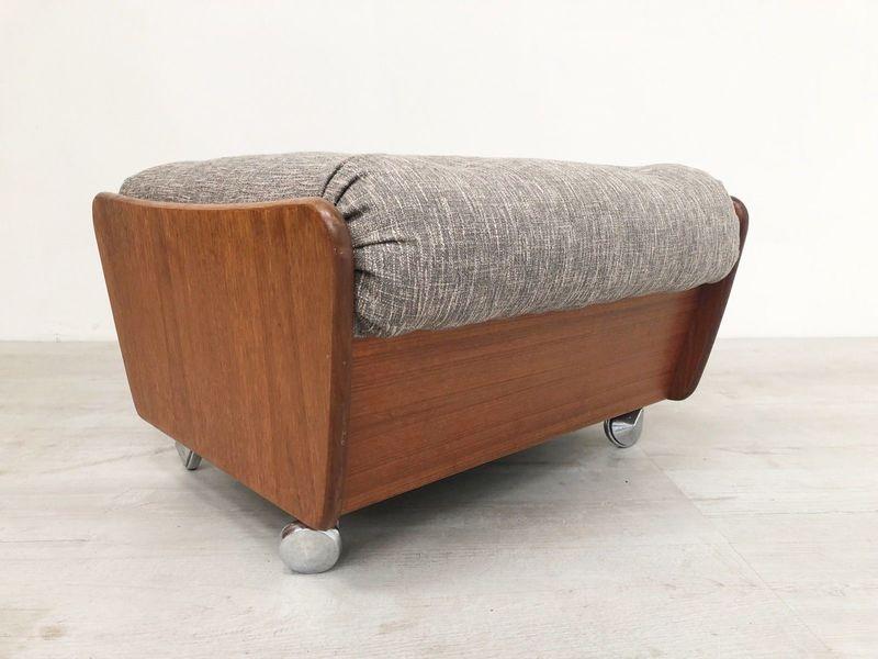 G Plan Vintage Saddleback Teak 70 S Mid Century Ottoman Footstool Re Upholstered