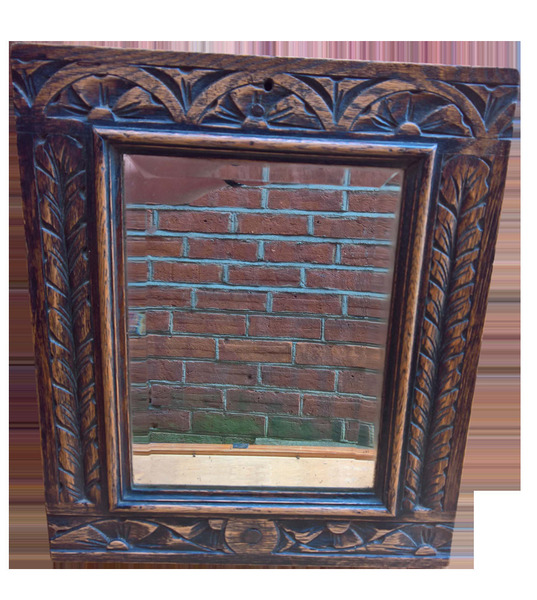Antique Arts And Crafts Carved Wooden Mirror With Original Mirror Glass