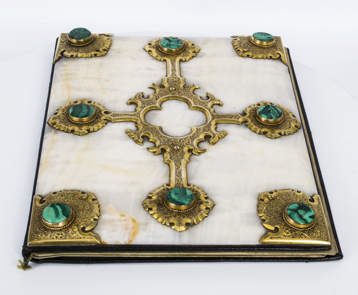 Antique Victorian Ormolu Malachite Onyx Desk Blotter C1870