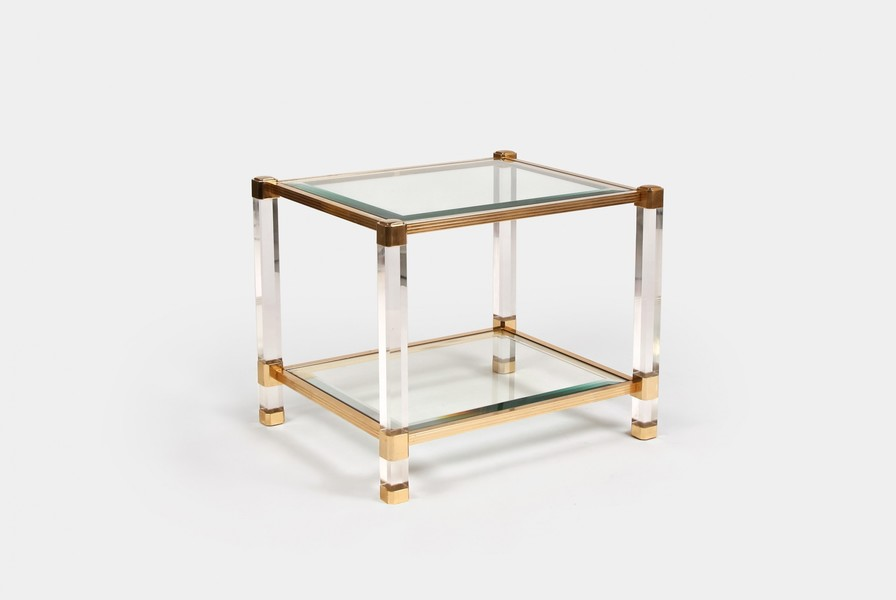 Vintage Lucite & Brass Table
