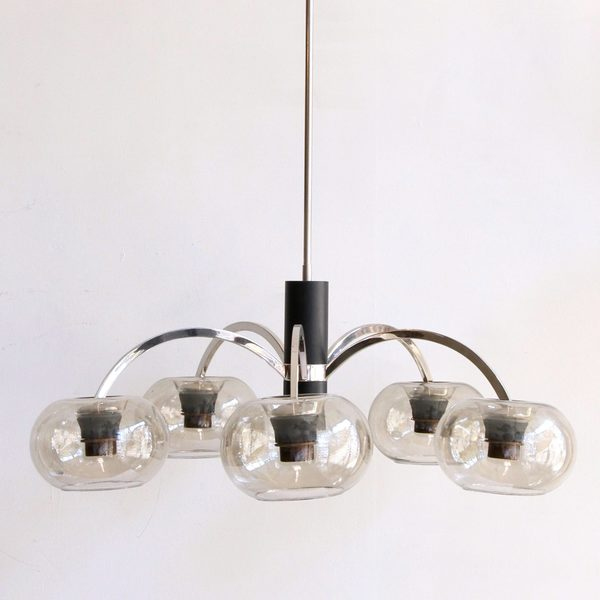 Mid Century Chromed Pendant With Grey Glass Shades